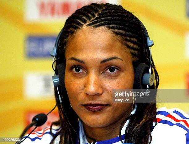 Christine Arron of France at IAAF World Indoor Championships in Athletics press conference at the Renaissance Hotel in Moscow Russia on Thursday...