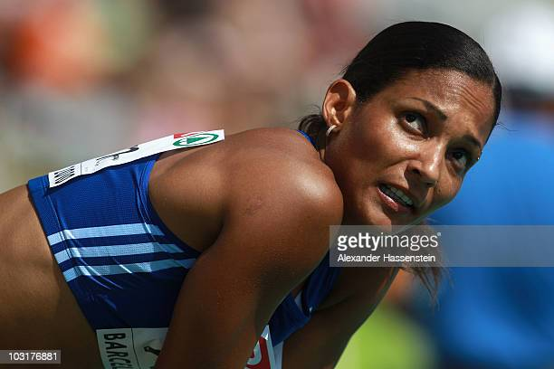 Christine Arron of France looks on after competing in the 4x100m Womens Relay Heats during day five of the 20th European Athletics Championships at...