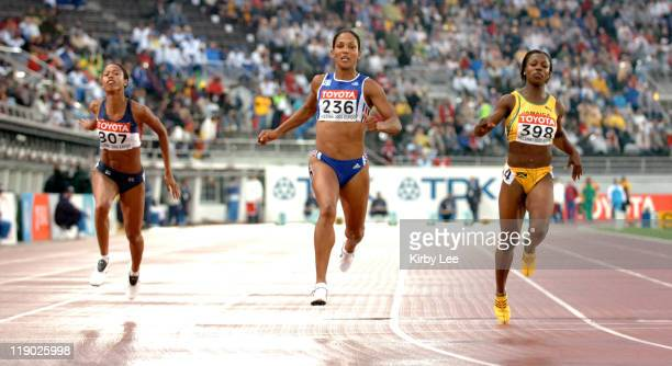 Christine Arron of France wins women's 100meter semifinal in 1096 in the IAAF World Championships in Athletics at Olympic Stadium in Helsinki Finland...
