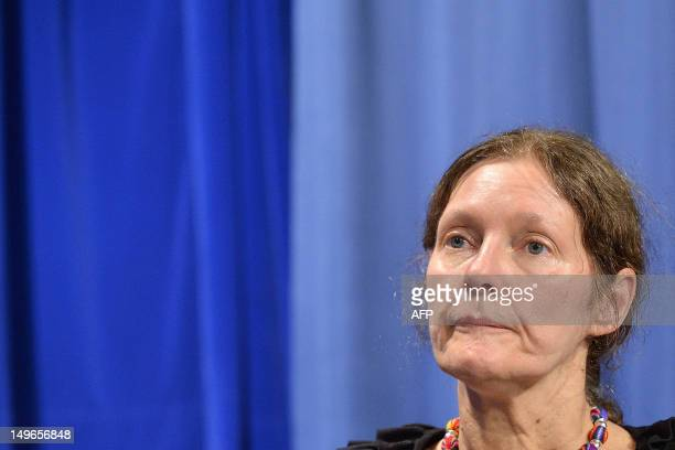 Christine Assange mother of Wikileaks founder Julian Assange speaks during an interview with AFP at the Palacio de Carondelet in Quito on August 1...