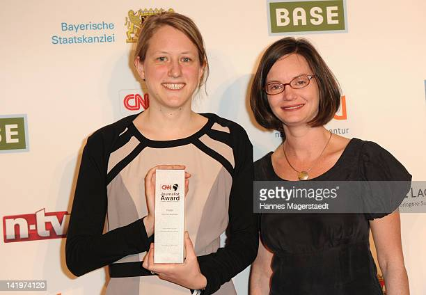 Christine Auerbach and Kristin Zeier attend the CNN Journalist Award 2012 at the GOP Variete Theater on March 27, 2012 in Munich, Germany.