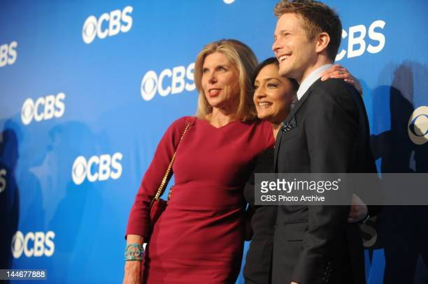Christine Baranski Archie Panjabi and Matt Czuchry from The Good Wife on the red carpet at CBS's Upfront party at New York's Lincoln Center following...