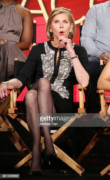 Christine Baranski for the television show The Good Fight speaks onstage during the 2017 Winter TCA Tour Panels CBS And Showtime held at The Langham...