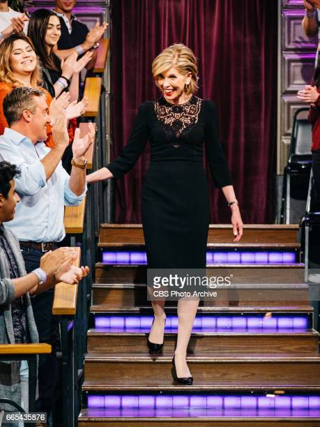 Christine Baranski greets the audience during The Late Late Show with James Corden Tuesday April 4 2017 On The CBS Television Network