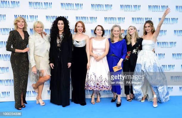 Christine Baranski Judy Craymer Cher Jessica Keenan Wynn Alexa Davies Meryl Streep Amanda Seyfried and Lily James attending the premiere of Mamma Mia...