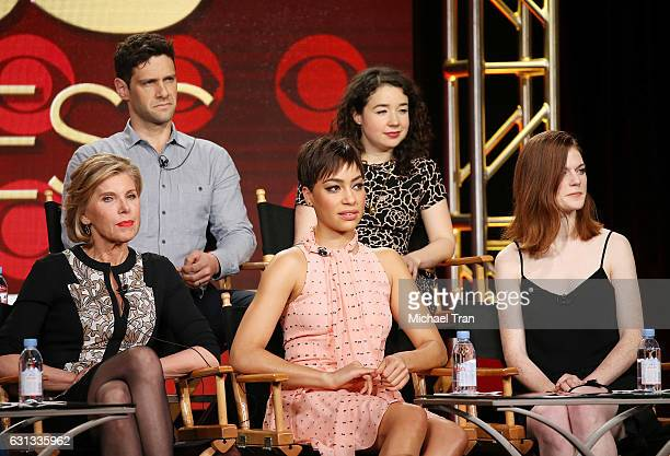 Christine Baranski Justin Bartha Cush Jumbo Rose Leslie and Sarah Steele for the television show The Good Fight speak onstage during the 2017 Winter...