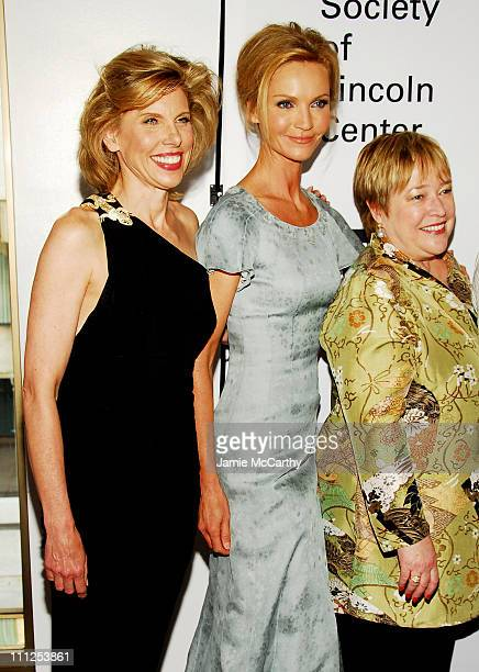 Christine Baranski Kathy Bates and Joan Allen during Jessica Lange Honored by the Film Society of Lincoln Center Green Room at Avery Fisher Hall in...