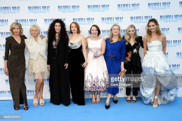 Christine Baranski producer Judy Craymer Cher Jessica Keenan Wynn Alexa Davies Meryl Streep Amanda Seyfried and Lily James attend the UK Premiere of...
