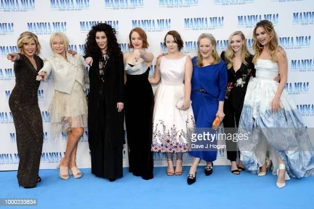 Christine Baranski producer Judy Craymer Cher Jessica Keenan Wynn Alexa Davies Meryl Streep Amanda Seyfried and Lily James attend the UK Premiere of...
