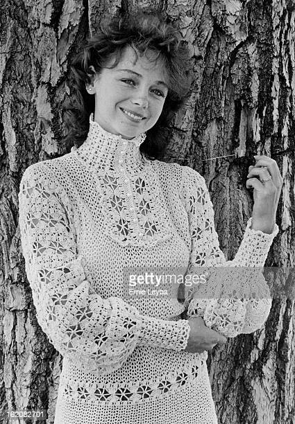 JUL 27 1981 JUL 28 1981 Christine Barker wears oldfashioned Victorian crochet ed sweater high neckline long sleeves At Tudor Rose