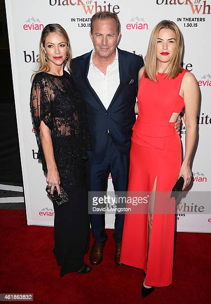 Christine Baumgartner actor Kevin Costner and Lily Costner attend the premiere of Relativity Media's 'Black or White' at Regal Cinemas LA Live on...