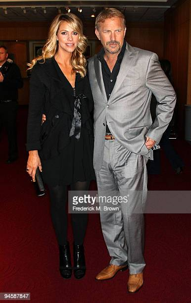 Christine Baumgartner and actor Kevin Costner attend the 20th anniversary screening of the film Field of Dreams at the Academy of Motion Picture Arts...