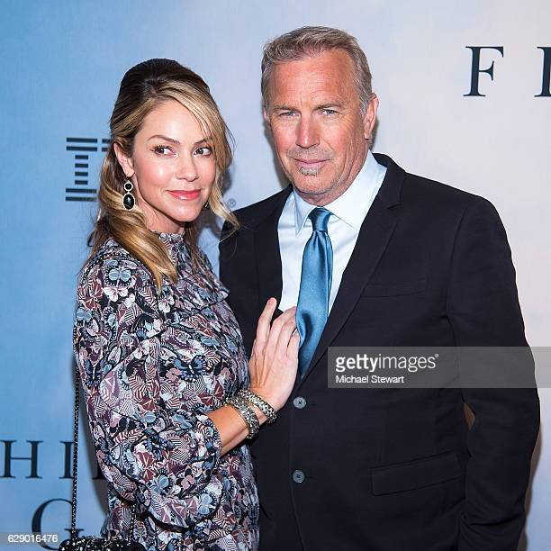 Christine Baumgartner and actor Kevin Costner attend the Hidden Figures New York special screening on December 10 2016 in New York City