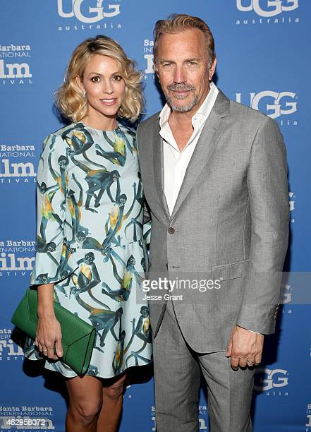 Christine Baumgartner and actor Kevin Costner attend The Santa Barbara Film Festival Closing Night Screening of McFarland USA at The Arlington...