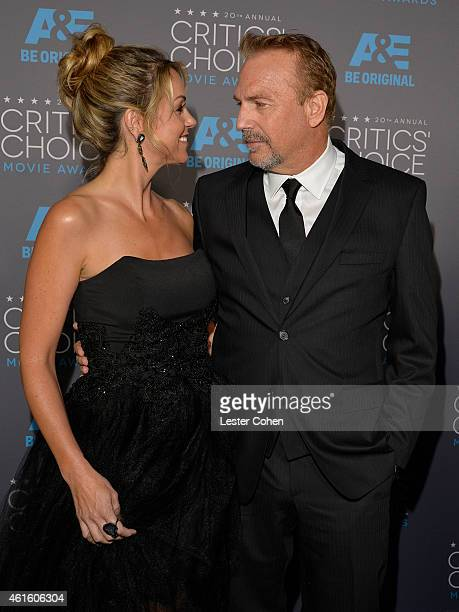 Christine Baumgartner and honoree Kevin Costner attend the 20th annual Critics' Choice Movie Awards at the Hollywood Palladium on January 15 2015 in...