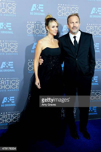 Christine Baumgartner and Kevin Costner attend the 20th Annual Critics' Choice Movie Awards on January 15 2015 in Los Angeles California