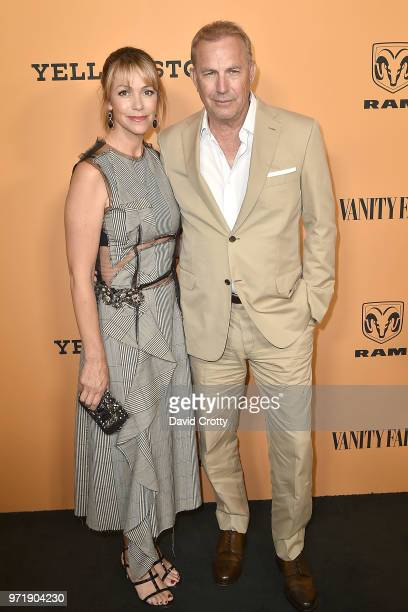 Christine Baumgartner and Kevin Costner attend the Yellowstone World Premiere at Paramount Studios on June 11 2018 in Los Angeles California