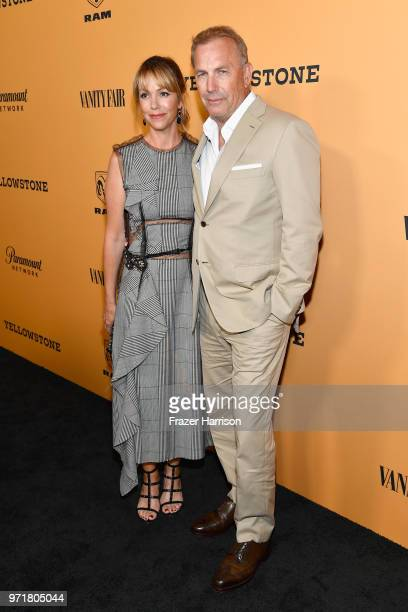 Christine Baumgartner and Kevin Costner attend Yellowstone premiere at Paramount Pictures on June 11 2018 in Los Angeles California