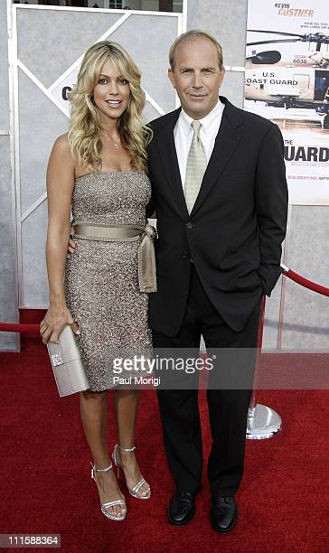 Christine Baumgartner and Kevin Costner during The Guardian Washington DC Premiere at The Uptown Theater in Washington DC United States