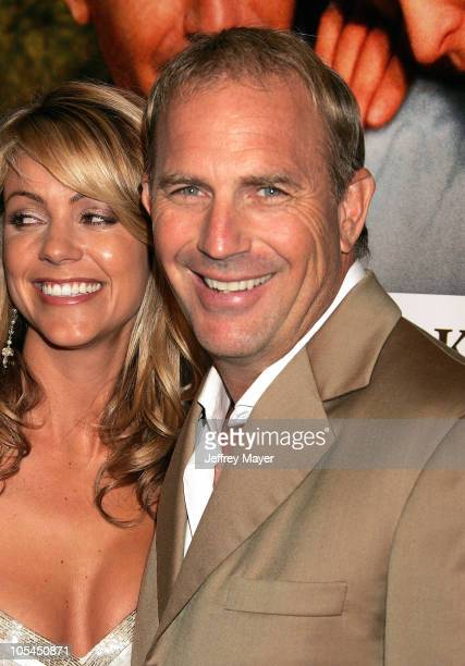 Christine Baumgartner and Kevin Costner during The Upside of Anger Los Angeles Premiere Arrivals at The National in Westwood California United States