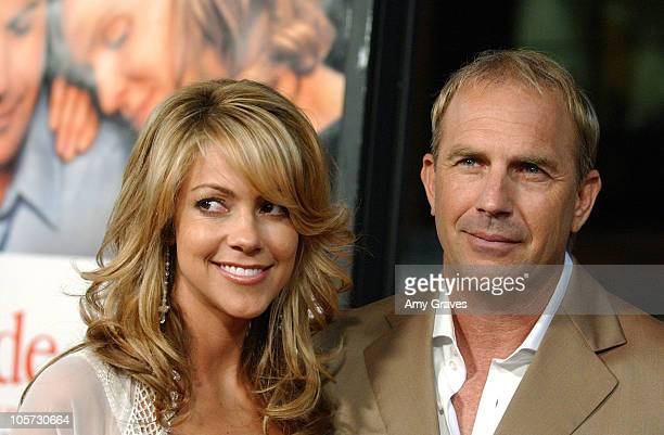 Christine Baumgartner and Kevin Costner during The Upside of Anger Los Angeles Premiere Red Carpet at The National in Westwood California United...