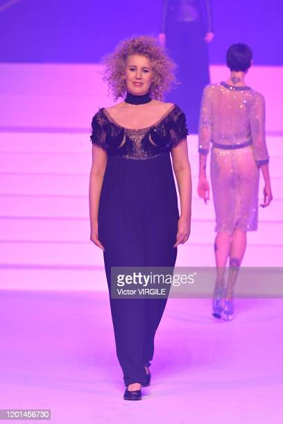 Christine Bergstrom walks the runway during the JeanPaul Gaultier Haute Couture Spring/Summer 2020 fashion show as part of Paris Fashion Week at...