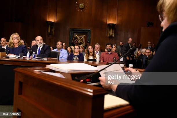 Christine Blasey Ford answers questions by Rachel Mitchell a prosecutor from Arizona before the US Senate Judiciary Committee in the Dirksen Senate...