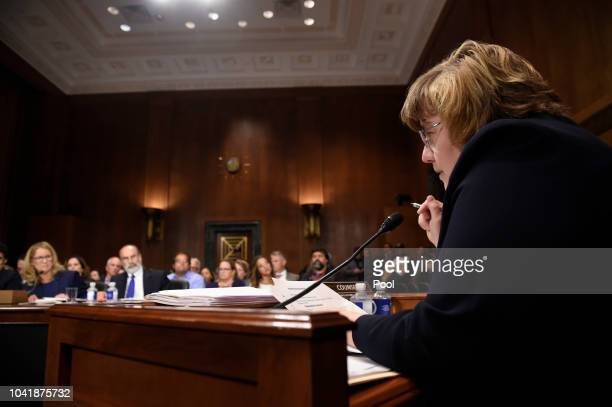 Christine Blasey Ford answers questions by Rachel Mitchell a prosecutor from Arizona as she testifies before the US Senate Judiciary Committee in the...