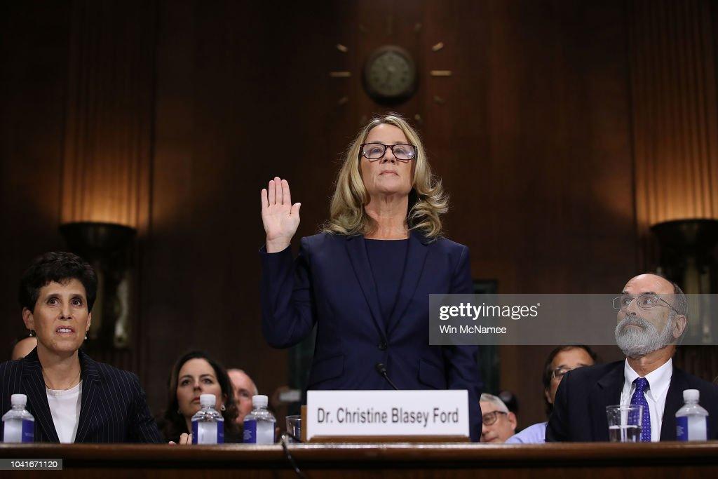 Dr. Christine Blasey Ford And Supreme Court Nominee Brett Kavanaugh Testify To Senate Judiciary Committee : News Photo