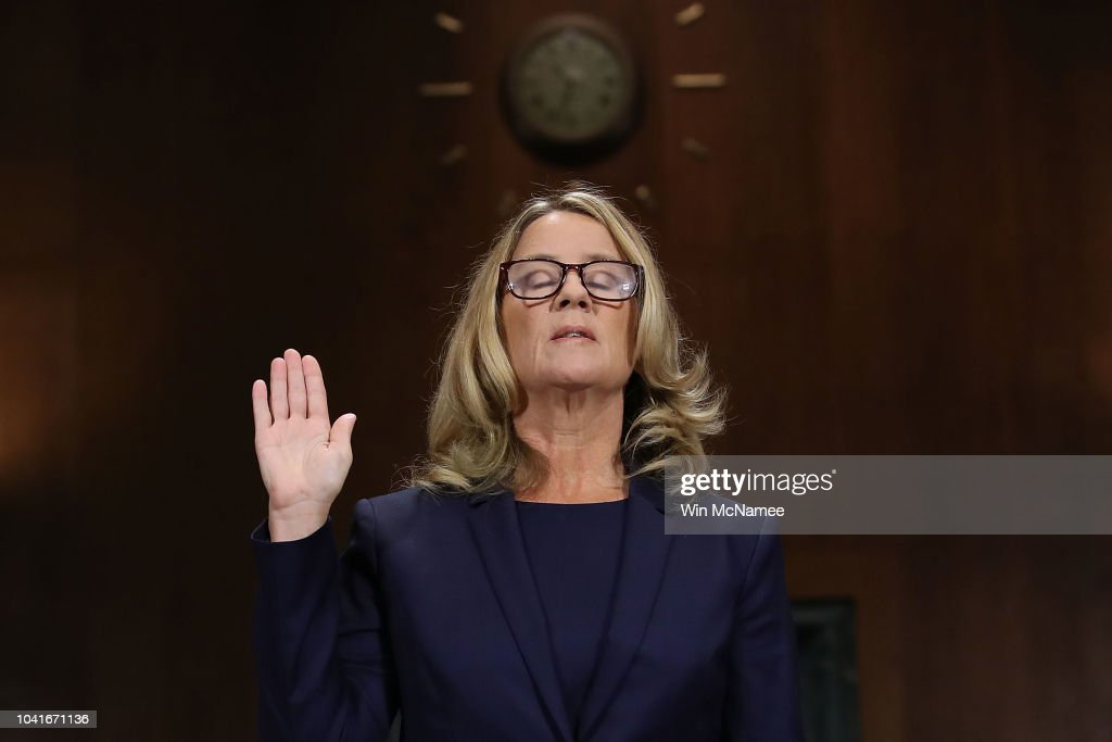 Dr. Christine Blasey Ford And Supreme Court Nominee Brett Kavanaugh Testify To Senate Judiciary Committee : Nieuwsfoto's