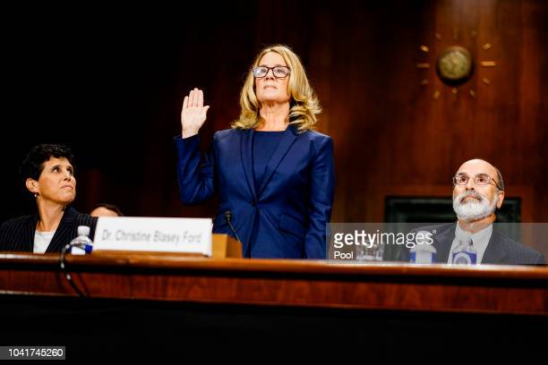 Christine Blasey Ford swears in at a Senate Judiciary Committee hearing in the Dirksen Senate Office Building on Capitol Hill September 27 2018 in...