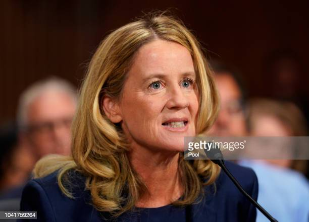 Christine Blasey Ford testifies before the US Senate Judiciary Committee at the Dirksen Senate Office Building on Capitol Hill September 27 2018 in...