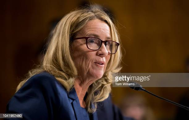 Christine Blasey Ford testifies during the Senate Judiciary Committee hearing on the nomination of Brett M Kavanaugh to be an associate justice of...