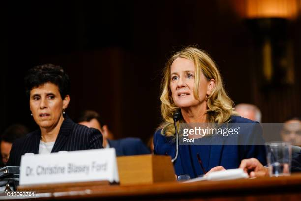 Christine Blasey Ford with lawyer Debra S Katz left answers questions at a Senate Judiciary Committee hearing on Thursday September 27 2018 on...