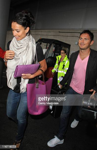 Christine Bleakley and Frank Lampard arrive back to Heathrow Airport after announcing their engagement on holiday in Las Vegas on June 17 2011 in...