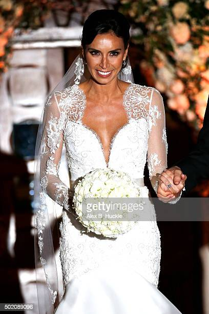 Christine Bleakley leaves St Paul's Church after her wedding to Frank Lampard on December 20 2015 in London England