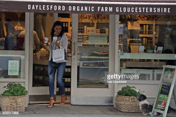 Christine Bleakley seen carrying coffee at Daylesford before walking their dog in Westbourne Grove on August 4 2017 in London England