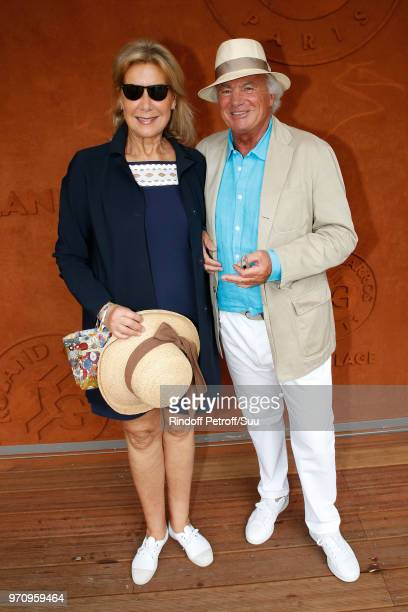 Christine Borgoltz and her husband Serge Halff attend the Men Final of the 2018 French Open Day Fithteen at Roland Garros on June 10 2018 in Paris...