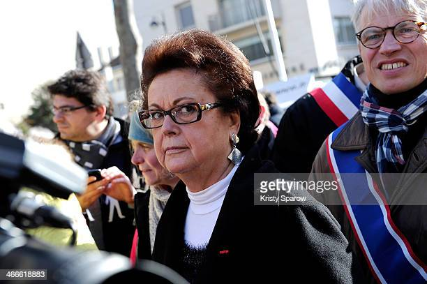 Christine Boutin attends the protest march 'La Manif Pour Tous' on February 2 2014 in Paris France Parisian Police expected over 100000 protesters to...