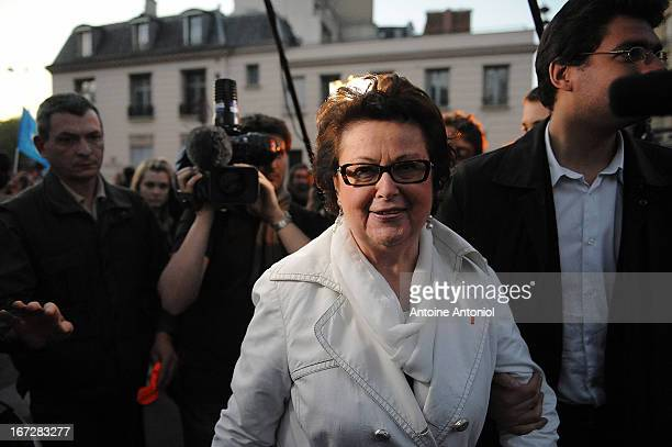 Christine Boutin leader of the French Christian Democratic Party protests during a demonstration a few hours after the French Parliament adopted gay...