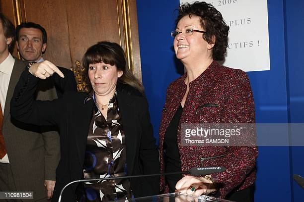 Christine Boutin Minister for Housing and Urban Affairs and secretary State Fadela Amara present their wishes to the press in Paris France on January...