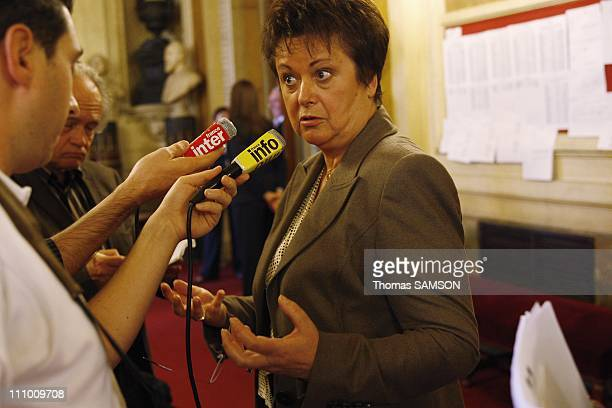 Christine Boutin Minister of Housing and Urban Affairs presents her law project on housing at the French Senate in Paris France on Octorber 14th 2008