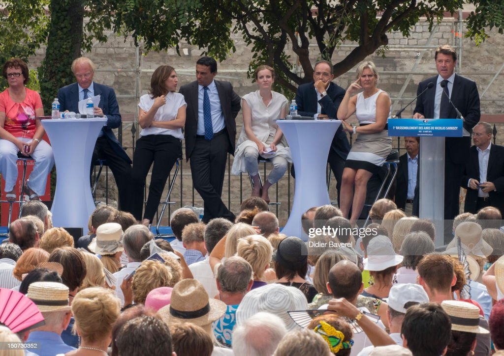 Christine Boutin, Nora Berra, Brice Hortefeux, Christian Estrosi, Nathalie Kosciusko Morizet, Jean Francois Cope and Nadine Morano on stage during the meeting on August 25, 2012 in Nice, France.