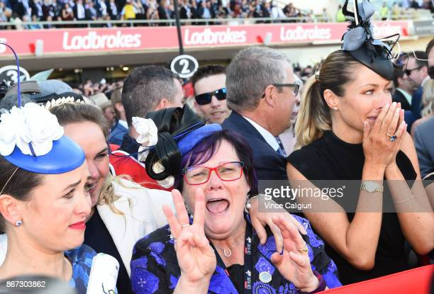 Christine Bowman, Debbie Kepitis and Stephanie Waller react after Hugh Bowman wins aboard Winx in Race 9, Ladbrokes Cox Plate during Cox Plate Day at...