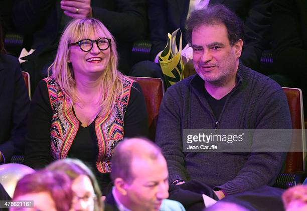 Christine Bravo and Raphael Mezrahi attend the last big meeting of Paris socialist mayoral candidate Anne Hidalgo before the elections at Cirque...