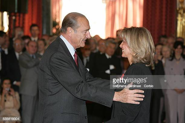 Christine Caron is awarded the Legion D'Honneur by French President Jacques Chirac