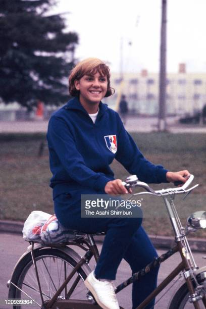 Christine Caron of France ride bicycle during the Tokyo Olympic Games at the Athletes' Village circa October 1964 in Tokyo Japan