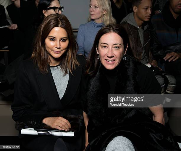 Christine Centenera and Edwina McCann from Vogue Australia attends the Dion Lee runway show during MADE Fashion Week Fall 2015 at Milk Studios on...