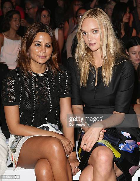 Christine Centenera and Gemma Ward sit front row at the Jayson Brunsdon show at MercedesBenz Fashion Week Australia 2015 at Carriageworks on April 14...