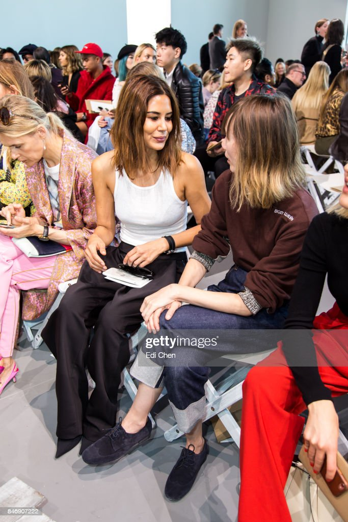 Christine Centenera & Anya Ziourova attend the Michael Kors runway show during New York Fashion Week at Spring Studios on September 13, 2017 in New York City.